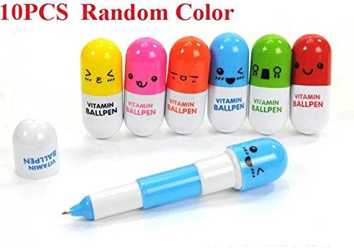 E-Goal Mehrfarbig nette Kapsel-Pillen Kugelschreiber für Schule Schreibbedarf Schreibwaren -10PCS