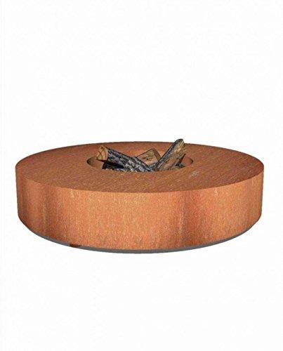 Runder Feuertisch aus Stahl 175 cm für den Garten (175 x 28cm) / Anti-Rost / gerostete...