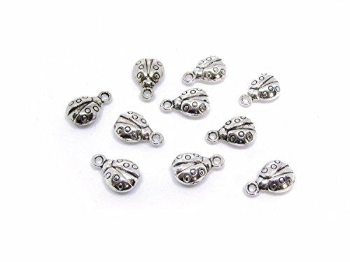10 Marienkäfer Anhänger, silberfarben, 1,3 cm, Schmuck mit Perlen basteln