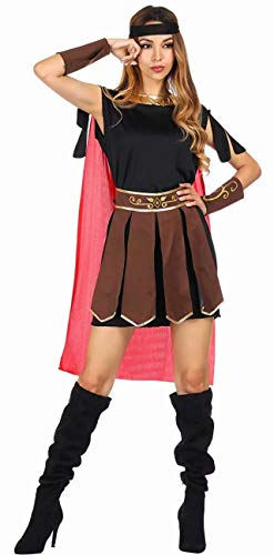 aizen Damen Römische Kriegerin Kostüm, Kleid mit Umhang Arm Stulpen und Haarband Halloween Cosplay Brown S (Halloween-kostüme Armee Womens)
