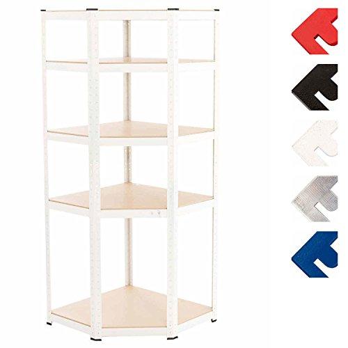 Clp scaffale angolare flint in metallo - scaffale portata 875 kg per garage i scaffale garage angolo 5 ripiani i scaffale angolare resistente 3 ripiani intermedi regolabili bianco 94x77x200 cm