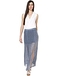 Abiti Bella Women's BLUE flower print long maxi skirt