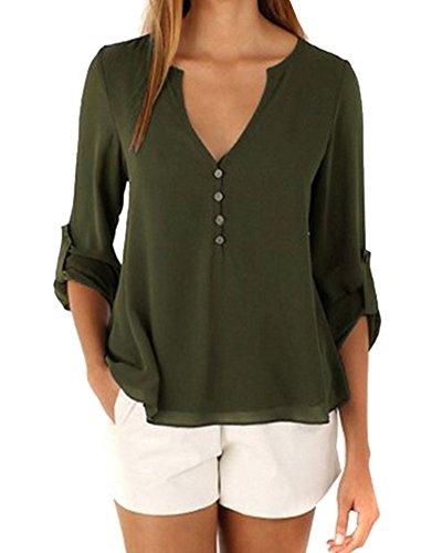 Missmao donna casual manica lunga pulsante chiffon con scollo v arredamento camicie orlo irregolare cime elegante blusa verde esercito m