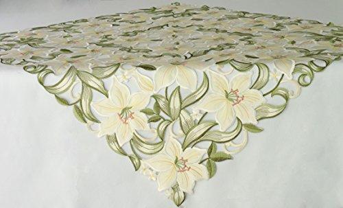 Unbekannt Mitteldecke mit ausgesticktem Blumenmotiv, Pflegeleicht, in Den Größen 85 cm x 85 cm und 110 cm x 110 cm.Ausgewählte Größe Jetzt: (110 cm x 110 cm)