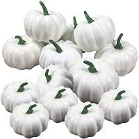JINLE - 12 calabazas artificiales blancas, decoración de calabazas falsas para Halloween, 6 tamaños grandes, 6 tamaños pequeños, composición, para bodas, Acción de Gracias, Navidad, Halloween