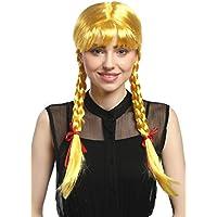 WIG ME UP ® - XR-008-PC2B Peluca mujeres Carnaval Cosplay larga Trenzas con cintas trenzadas flequillo Colegiala Lolita amarillo 60 cm
