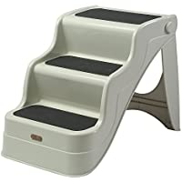 PawHut Escalera Ligera, Rampa Portátil, Escaleras Plegables para Mascota Perro y Gato para Uso Interior y Exterior - Blanco Crema