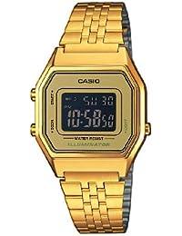 Casio LA680WEGA-9BER - Reloj digital de cuarzo para mujer con correa de acero inoxidable, color dorado
