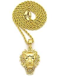 Piedra con tachuelas crin cabeza de león colgante w/3mm 45,7cm collar cadena de cuerda, tono dorado