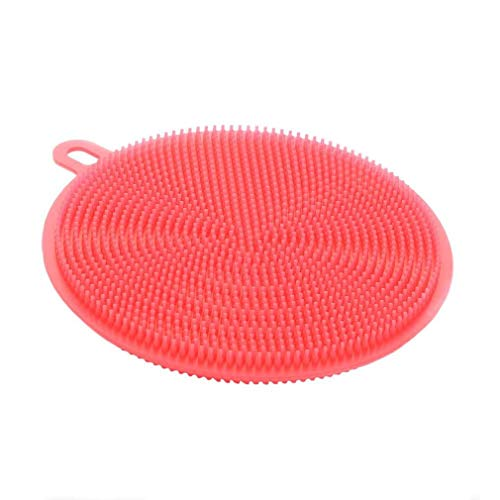 Bobopai Silicone Scrubber, Silicone Multipurpose Kitchen Scrub Brush for Dish Pot and Veggies Fruit Non-Stick Pan (A-red) - Red Fruit Bowl