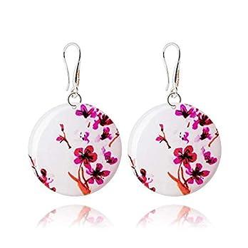 Ohrhänger mit Pinken Kirschblüten Rund Schmuck für den Muttertag Geschenk