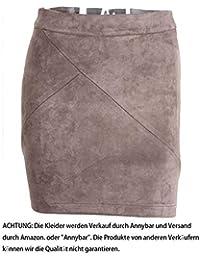 Annybar Damen Kurz Rock Elegant A Linien High Waist Leder Sommer Minirock 5e323ccf3e