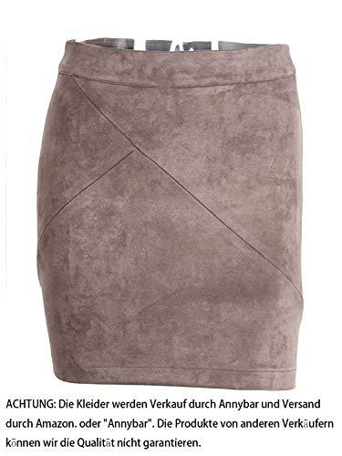 Annybar Damen Kurz Rock Elegant A Linien High Waist Leder Sommer Minirock, Gr.-42/ XL, Grau