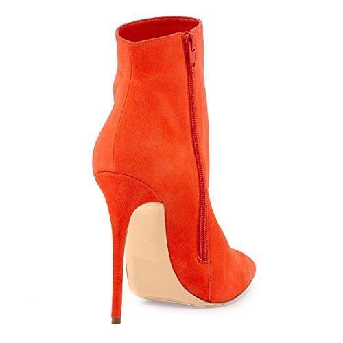Onlymaker Damenschuhe High Heels Spitze Toe Reissverschluss Ankle Boots Orange