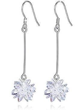 Jessibox 925 Silber Damen Ohrringe Hängend Lang, Blumen Schneeflocken Ohrschmuck mit Zirkonia