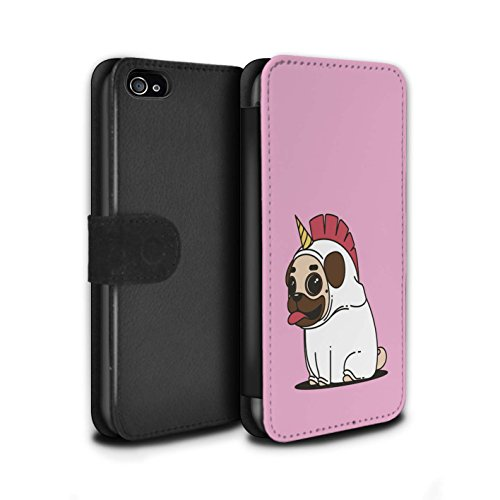 STUFF4 PU-Leder Hülle/Case/Tasche/Cover für Apple iPhone 4/4S / Karikatur Mops/Pug Muster / Einhorn/Unicorn Kollektion (Telefon Fällen Iphone 4s)
