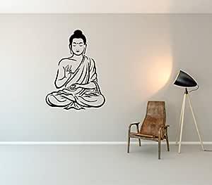 Rawpockets 'Buddha' Wall Sticker (PVC Vinyl, 1 cm x 54 cm x 74 cm, Black)