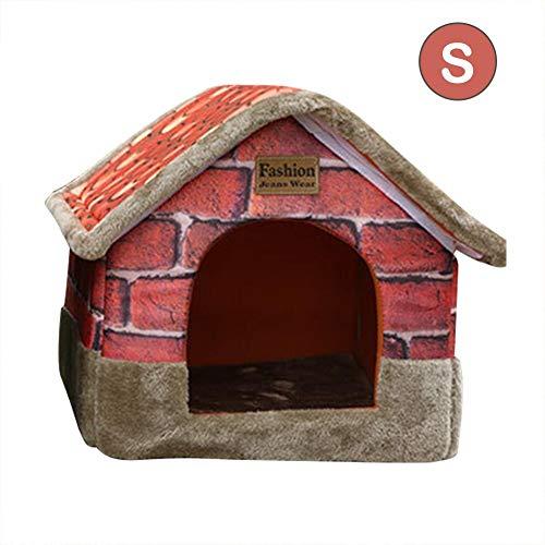 Diuspeed Pet House Baumwolle weich und warm Hund Katze Welpen Hase Pet Nest Bed Haus Retro Faltbar Innen Pet Nest