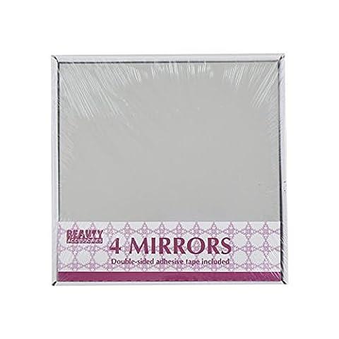 Ardisle 4 Selbstklebende Mosaik Fliesen Spiegel Wandaufkleber Sticker Quadrat Deko-Kunst Badezimmer Glas