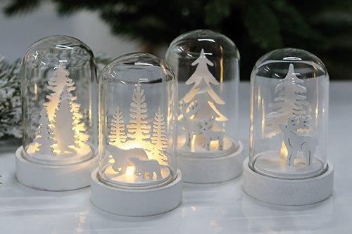 Deko Glocke Winterzeit aus Glas - LED Beleuchtung - Größe pro Glas Höhe 9cm / Durchmesser 6cm - 1 Stück (Licht Glocke-glas 1)