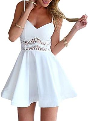 Minetom Mujer Verano Moda Vestido De Playa Hueco Patrón Mini Vestido Sin Mangas Clubwear
