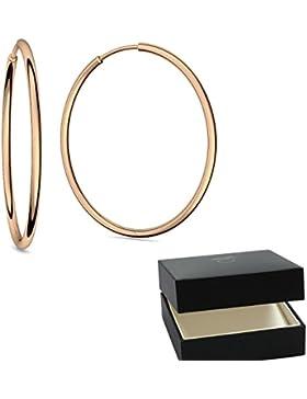 Creolen groß Rosegold hochwertig vergoldet für Damen inkl. Luxusetui + Creole dünn design Roségold vergoldet rose...