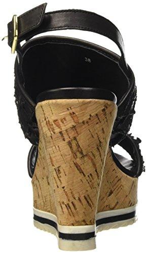 BPrivate E1008x, Sandales ouvertes à talon compensé femme Noir - Noir