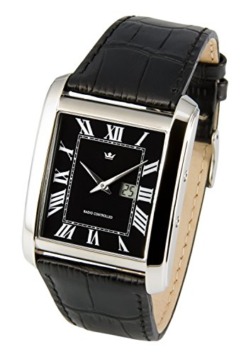 Elegant Marquis Men's Radio Watch Junghans Movement). Black Leather Bracelet with Stainless Steel Clasp and Stainless Steel Casing 964.4009