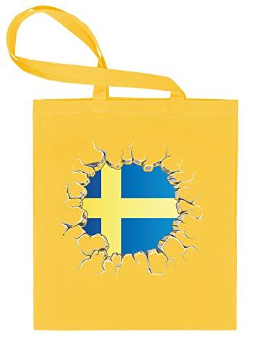Schweden Sverige Sweden Fan Artikel 5802 Stoff Beutel Trage Tasche Einkaufs Henkel Schulter Fuss Ball WM 2022 Flagge Fahne Football World Cup Gelb