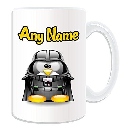 Personalisiertes Geschenk, großer Darth Vader Tasse (Pinguin Film Charakter Design Thema, weiß)–Jeder Name/Nachricht auf Ihre Einzigartiges–Kostüm Film Superheld Hero Star Wars Jedi Lichtschwert Laser Sword Anakin Skywalker