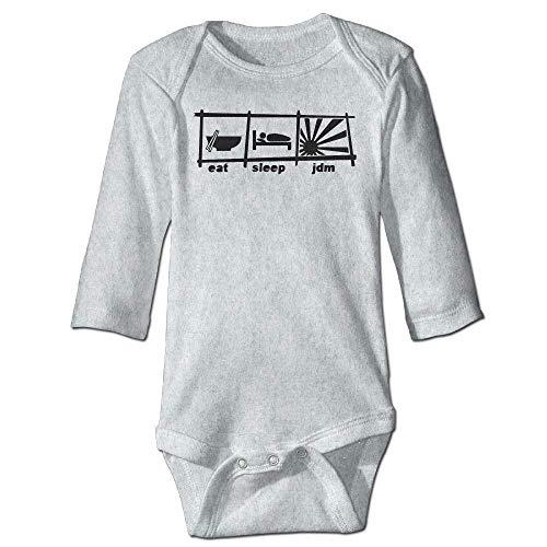 Unisex Infant Bodysuits Eat Sleep JDM Boys Babysuit Long Sleeve Jumpsuit Sunsuit Outfit Ash