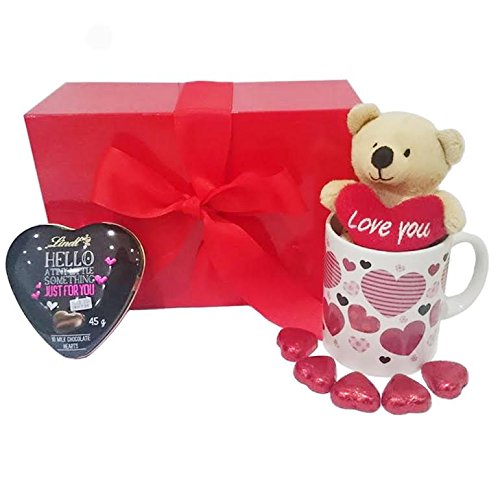 Mother's Day Gift Set with Heart Chocolates, Mug and Teddy Bear and Lindt Heart in Scarlet Box
