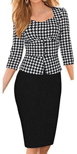 HOMEYEE Damen Knielang Etuikleid Business Kleid Elegantes Abendkleid B240 Houndstooth - 3/4 Arm