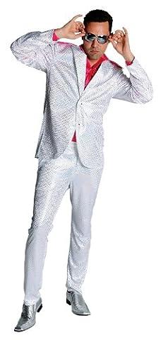 Disco Anzug Glitter Partyanzug Herren 80er Jahre Saturday Night Farbe: weiß - Größe L (80 Anzug Kostüm)