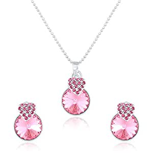Mahi Liana Collection Pink Made with Swarovski Elements Rhodium Plated Pendant Set for Women NL1104089RPi
