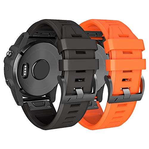 NotoCity Armband für Garmin Fenix   3 26mm Silikonband Easy Fit für Fenix   5X / Fenix   5X Plus/Fenix   3 / Fenix   3 HR (Schwarz+Orange)