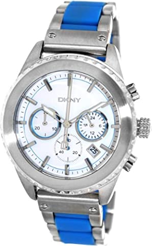 DKNY Men's 42mm Two Tone Steel Bracelet & Case Quartz White Dial Chronograph Watch NY8762