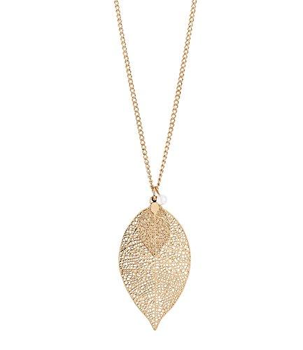SIX Halskette: Lange Gliederkette mit filigranem Blatt-Anhänger, kleine weiße Perle, Goldfarbene Kette, 2 Blätter, längenverstellbar (421-624)