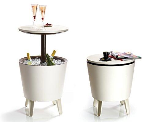 Keter 962CBEC Mesa de fiesta con hielera integrada, color crema/marrón, 49,5x 49,5x 57cm