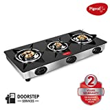 Pigeon by Stovekraft Favourite 3 Burner Line Cook Top Stove, Black