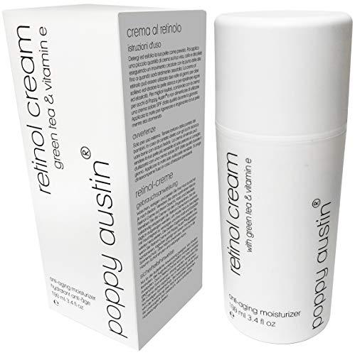 Beste Retinol Creme für Tag & Nacht von Poppy Austin® – Riesig 100ml – 2,5% Retinol, Vitamin E, Grüner Tee & Sheabutter – Anti-Aging-Feuchtigkeitscreme für das Gesicht & 2016 Besten Anti-Falten-Creme - 2