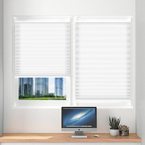 Plissee klemmfix ohne Bohren verdunklung 100 x 120cm Weiß Seitenzugrollo Faltrollo für Sonnenschutz, Plissee Jalousie Klemmfix Rollo für Fenster und Tür