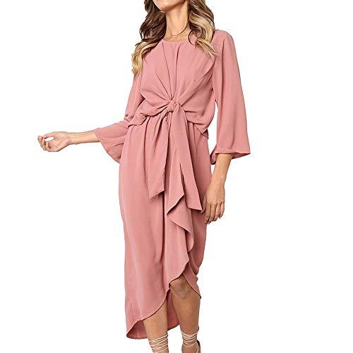 Langarm Lose O-Ausschnitt Knielang Casual Longshirt Hemdkleid Abend Party Fashion Club Midi Kleid Stilkleid Strandkleid mit Gürtel ()