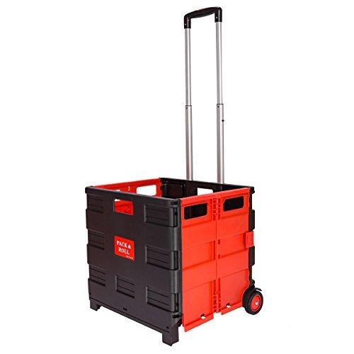 DXP Transport Trolley klappbar bis 35kg Einkaufstrolley Einkaufswagen Klappbox Transportwagen Shopping Trolley Faltbox Aluminium Kunststoff Schwarz WS-02 (Schwarz-Rot ohne Deckel)