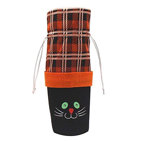 Bolange Halloween Plaid Flasche Set Kürbis Geschenktüte Wein Tasche niedliche Vliesstoff Halloween Küche - schwarze Katze