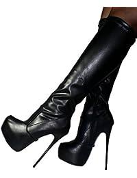 Erogance Plateau High Heels Kneestiefel - Botas para mujer 37