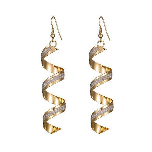 EUCoo Vintage Spiral Ohrringe baumeln Ohrring Charm Schmuck Silber Gold schwarz umgeben Scrub lang Ohrringe (Gold,konventionell)