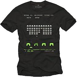 MAKAYA Camiseta Gamer Hombre - Space Invaders - Negro M
