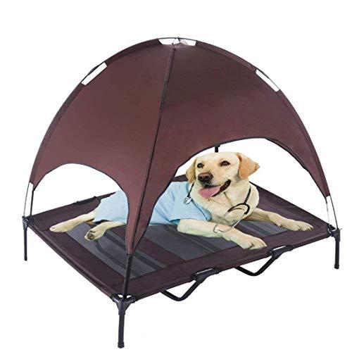 Jolitac Hundeliege mit Dach Hundebett Baldachin Schlafplatz Hundesofa Hunde Liege Haustierbett Katzenbett 3 Maße 2 Farben (XL, Kaffee)