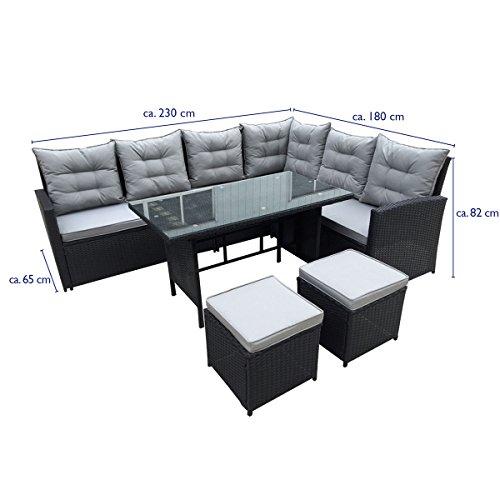 SVITA Poly Rattan Ecksofa Rattan-Lounge Gartenmöbel-Set